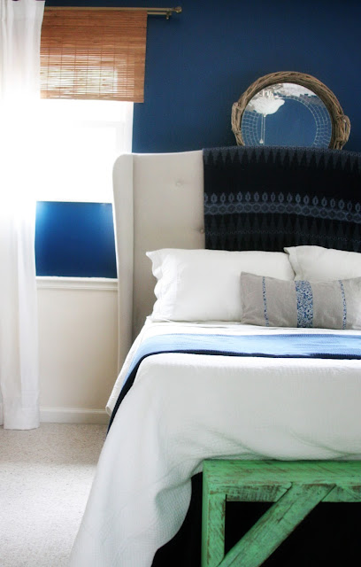 Navy Bedroom with white bedding and green bench // Craftivity Designs