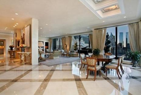 david geffens new york city duplex penthouse hall with piano