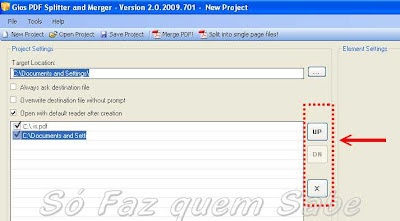 Botões laterais que servem para posicionar os arquivos dentro do novo arquivo PDF