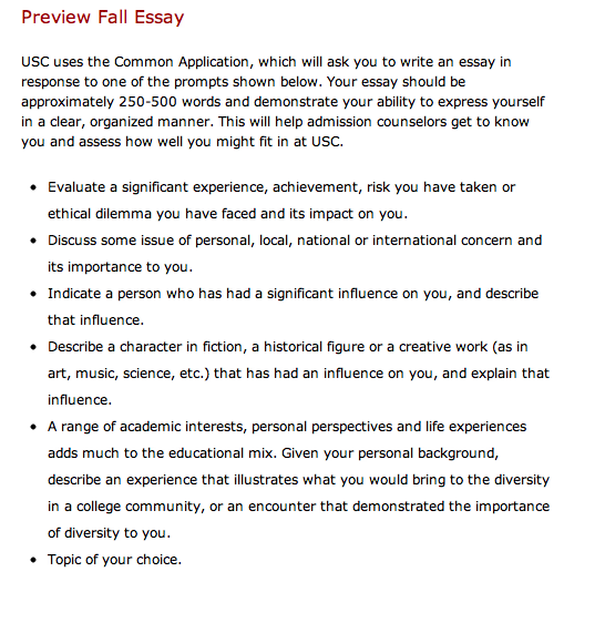 usc essay preview Home » apply » common application faqs print share facebook twitter common application faqs here are step-by-step instructions and links to resources to help.