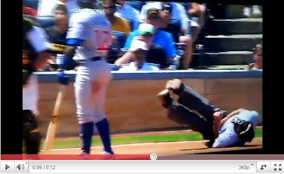 擦棒球1顆星打中要害 主審痛苦倒地