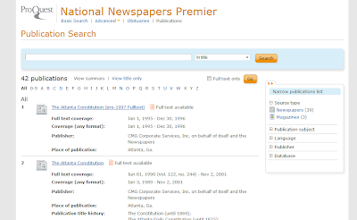 National Newspapers Premier publications list screen capture.