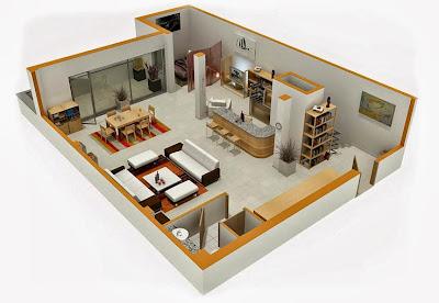 Departamentos peque os planos y dise o en 3d construye for Distribucion oficinas pequenas