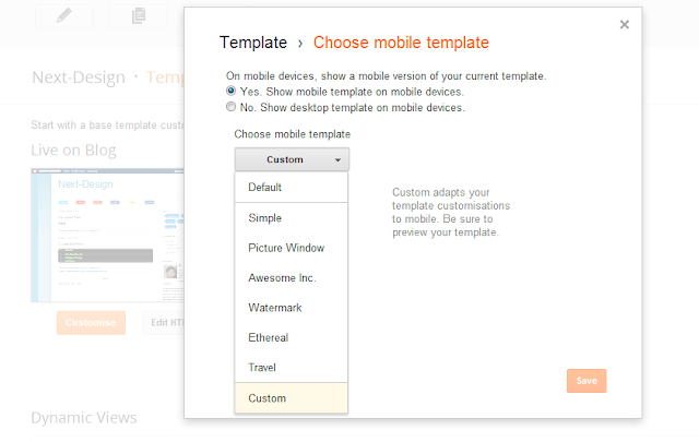 mobile template select for blogger new dashboard