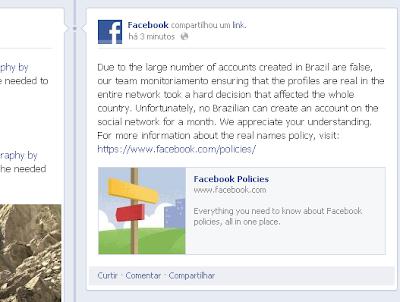 Facebook deixará Brasil sem cadastro de usuários - imagem retirada do Facebook