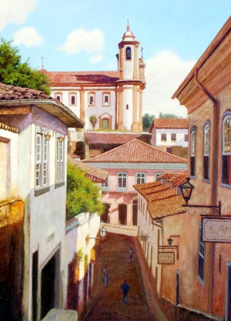 Arte pinturas leo paisajes de pueblos pintor alonzo morales - Casas en pueblos ...