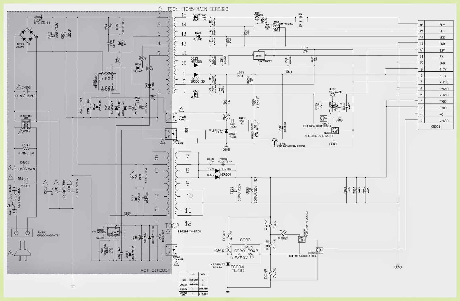Lg Ht306sf Power Supply And Amp Circuit Diagram Firmware Diagrams Pwb Top Bottom View