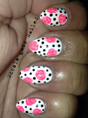 Neon Vintage Roses on White with Black Polka Dots