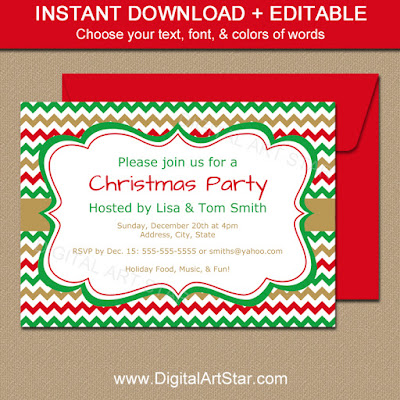 Printable Christmas invitation template - red, green, gold chevron