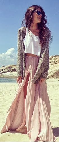 Maxi skirt, white top and cardigan fashion trend