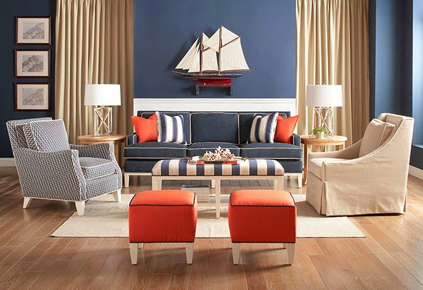 navy & orange decor for a classic coastal look