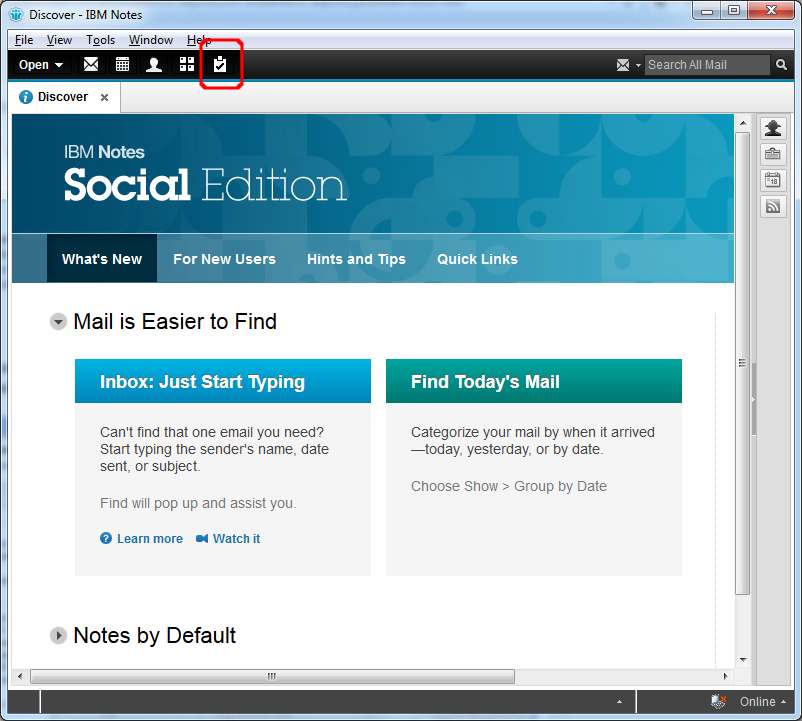 See your custom shortcut in the IBM Notes Domino Masthead Shortcutbuttonbar