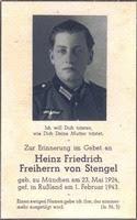 † Heinz Friedrich Freiherr von Stengel ✠