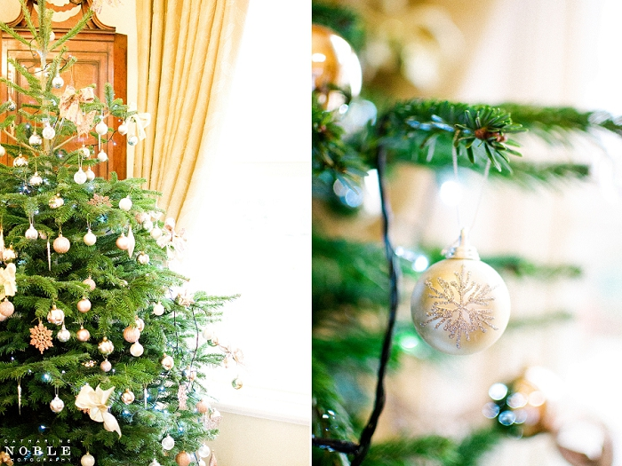 singlteon lodge country house christmas tree gold decorations