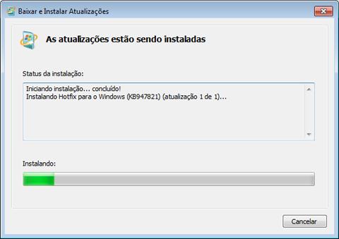 Instalando Hotfix Ferramenta de Preparação para Atualização do Sistema