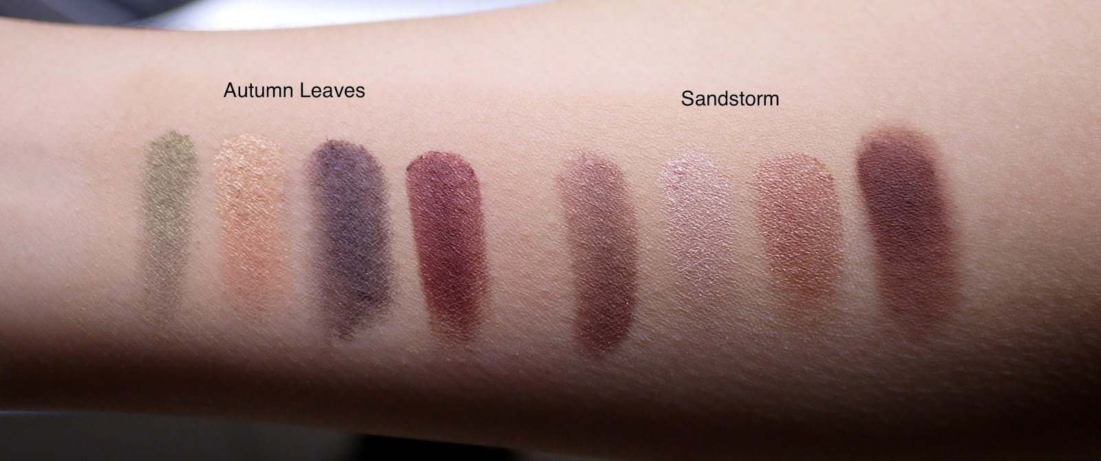 Mary Kay Autumn Leaves and Sandstorm Quad Review swatches