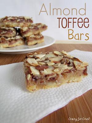almond toffee bars on napkin