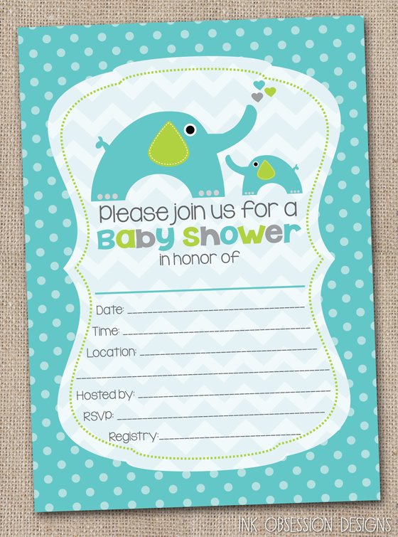 obsession designs fill in the blank elephant baby shower invitations