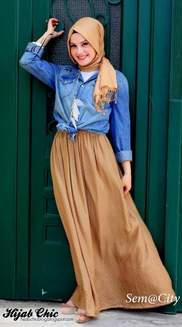 إطلالات التنورة الطويلة للمحجبات - ملابس محجبات