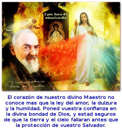 el santo padre pio con mensaje en la foto de jesus misericordioso