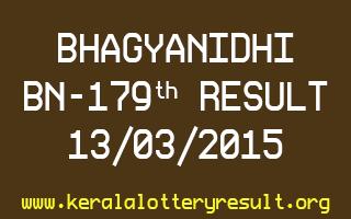 BHAGYANIDHI BN 179 Lottery Result 13-3-2015
