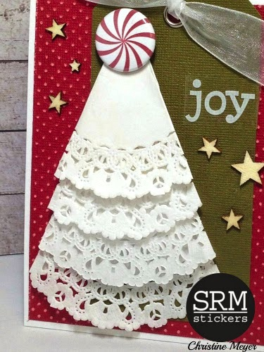 SRM Stickers Blog - Bossy Joscie card by Christing - #card #christmas #doilies #flair #bossyjoscie #stickers
