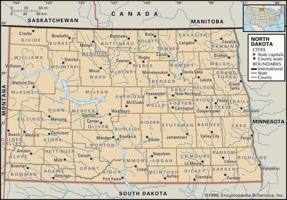 Printable US maps of North Dakota for free.