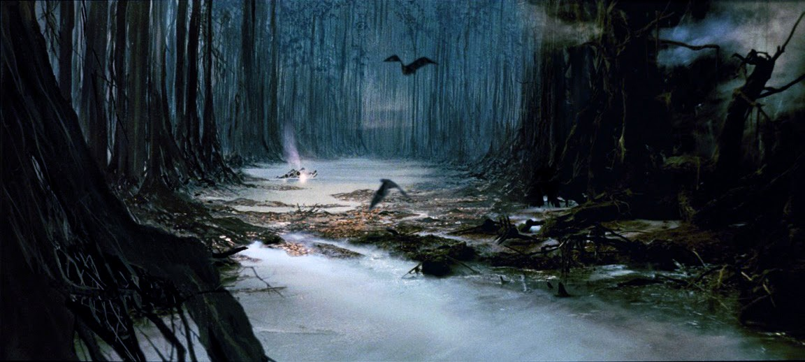 Image of swamp on Dagobah from Star Wars.