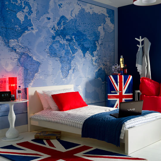 Roses and rust bedrooms for boys for Union jack bedroom ideas