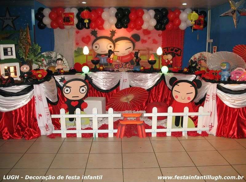 decoração de festa infantil com o tema Pucca