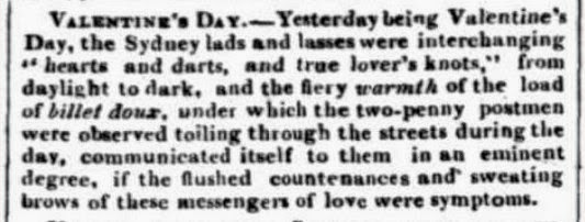 Sydney Monitor report about Valentine card deliveries, 15.2.1839
