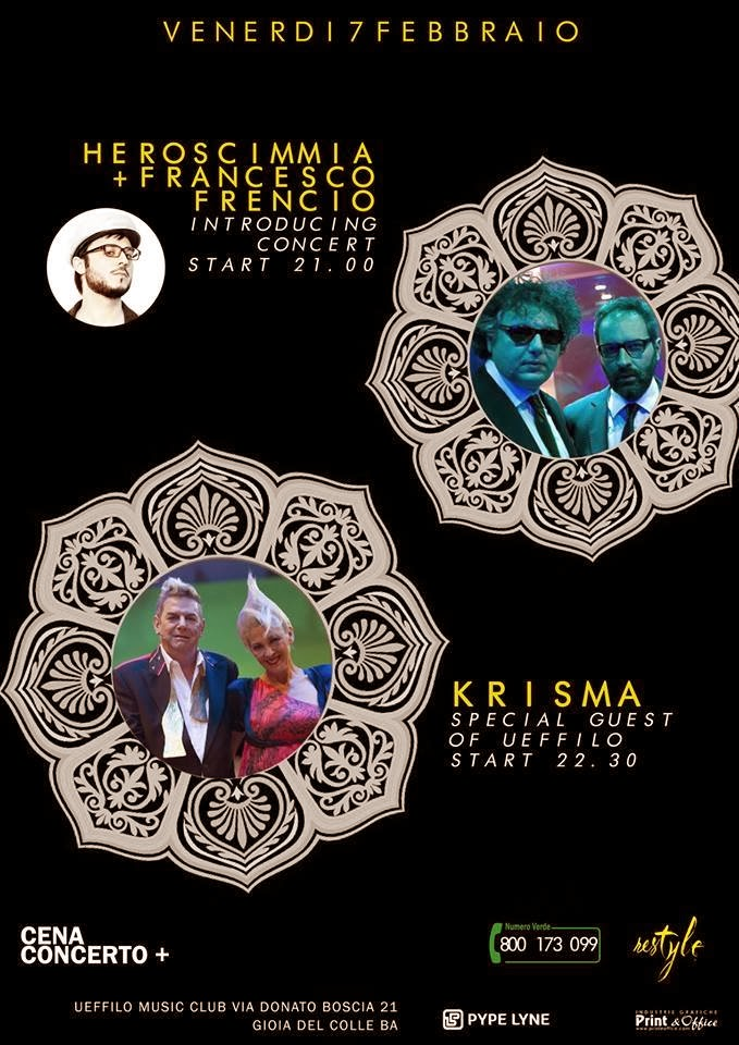 "Venerdi' 7 febbraio 2014 l'Electro-Wave dei ""KRISMA"" sbarca all' Ueffilo Music Club"