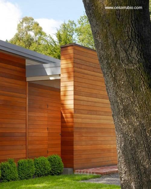 Arquitectura de casas fachada de madera en casa moderna - Arquitectura en madera ...