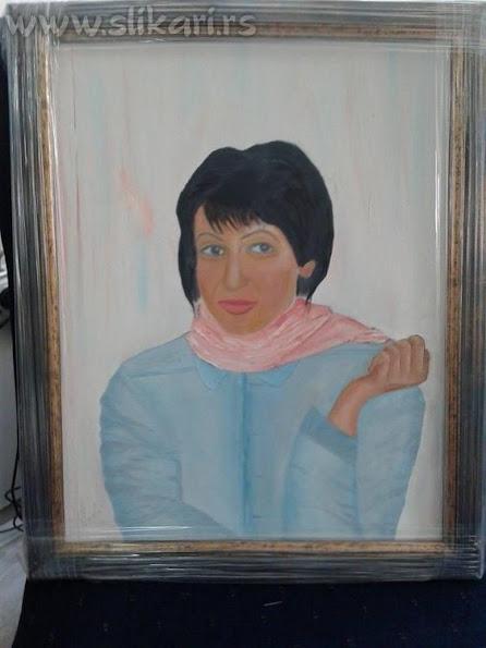 """umetnička slika """"TAJNA U PLAVOM"""" umetnik Vladisav Bogićević-slikar Luna Niš"""