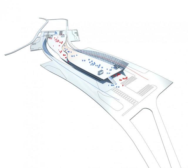 Illustration showing traffic flow through building