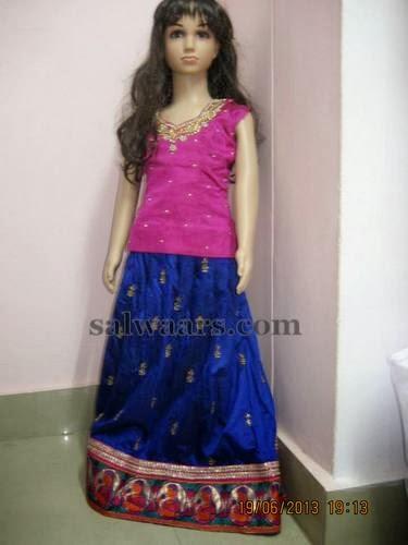 Blue Pythani Silk Kids Skirt