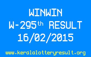 WINWIN Lottery W 295 Result 16-02-2015