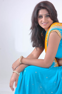 Shamili Beautiful Indian model in lovely Blue Saree matching Choli Blouse Spicy Picturetshoot