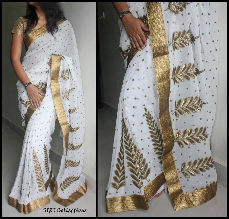 Kerala traditional gold with white cotton saree