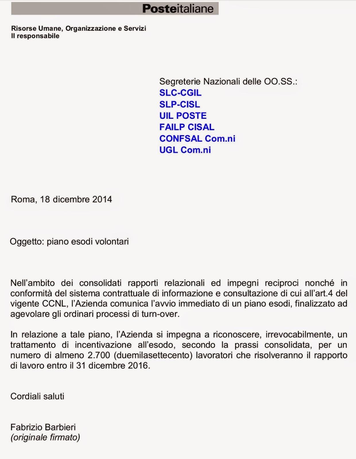 Incentivazione piano esodi volontari risoluzione rapporto di lavoro entro 31 12 16