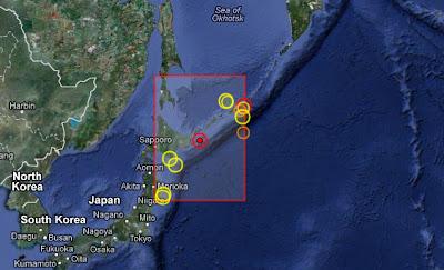 Enjambre de sismos islas Kuriles 15 de Julio 2012
