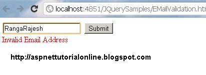 EMail VAlidation using JQuery in ASP.NET