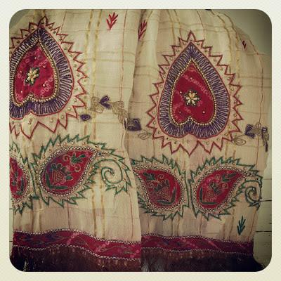 ByHaafner, embroidery, bringing travel home, thrifted, vintage, sari, India
