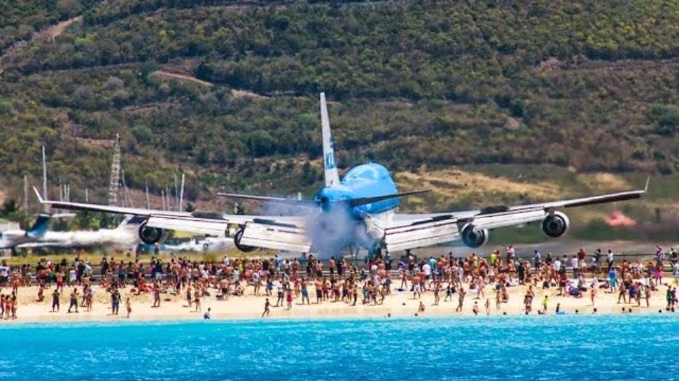 Incre�ble aterrizaje en la isla Saint Marteen. Video en SLOW ...