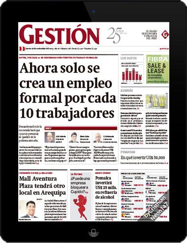 Diario Gestión Perú (26 Noviembre 2015) ESPAÑOL - Ahora solo se crea un empleo formal por cada 10 trabajadores