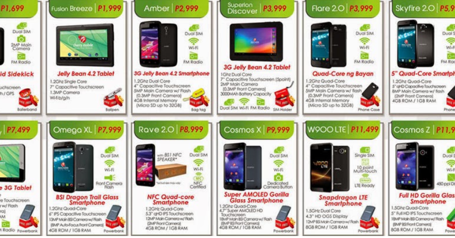 cherry mobile phones and tablets price list for 2014