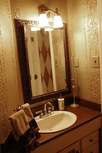 """powder room"" ""faux finishing"" ""embossed stenciling"" ""raised stencil design"""