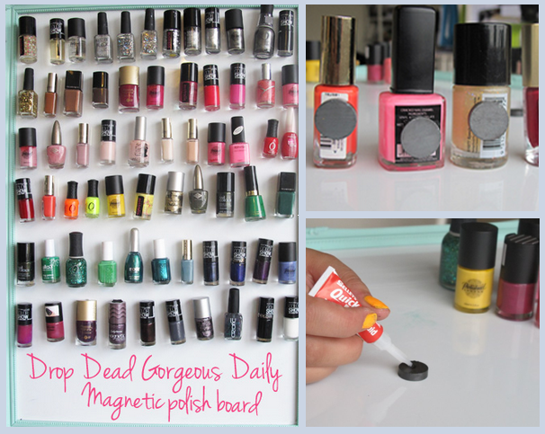 11 Ways to Organize with Magnets - for nail polish:: OrganizingMadeFun.com