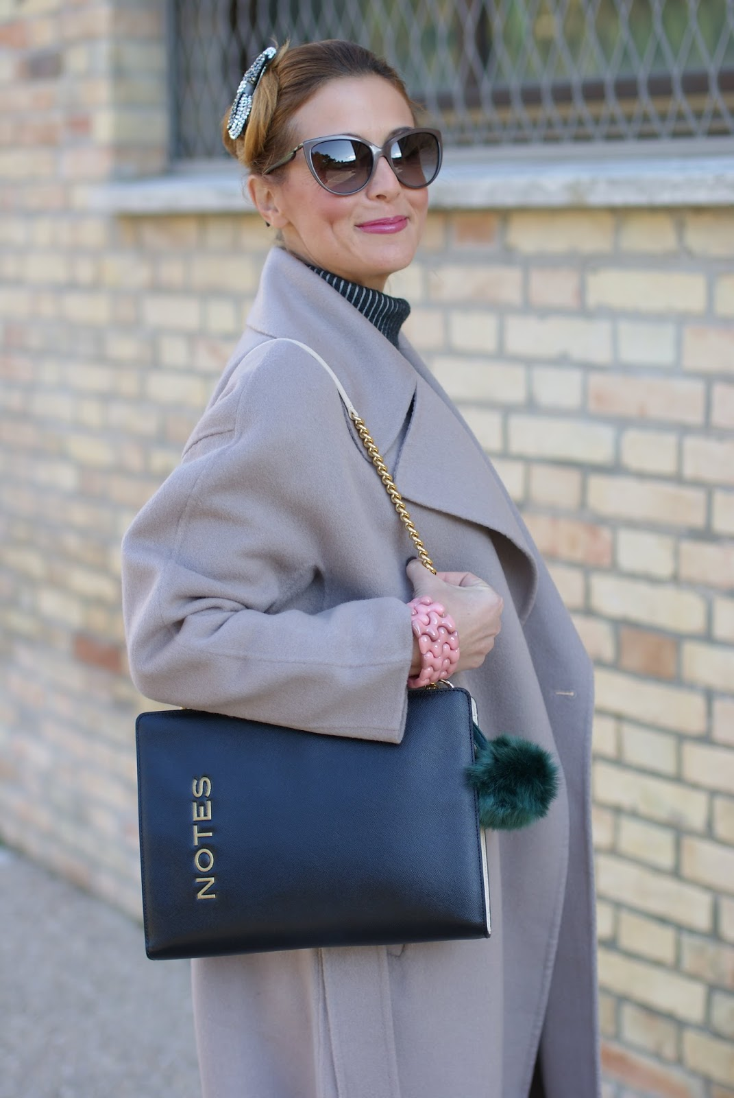 Chic and sophisticated look with a Vogos Mathilda coat, faux leather pants and black pumps on Fashion and Cookies fashion blog, fashion blogger style