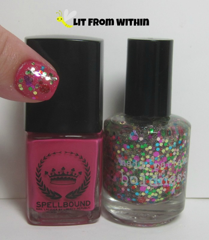 Bottle shot: Liberty Republic SpellBound LoveSpell, and Nail Pattern Boldness Birthday B!tch.
